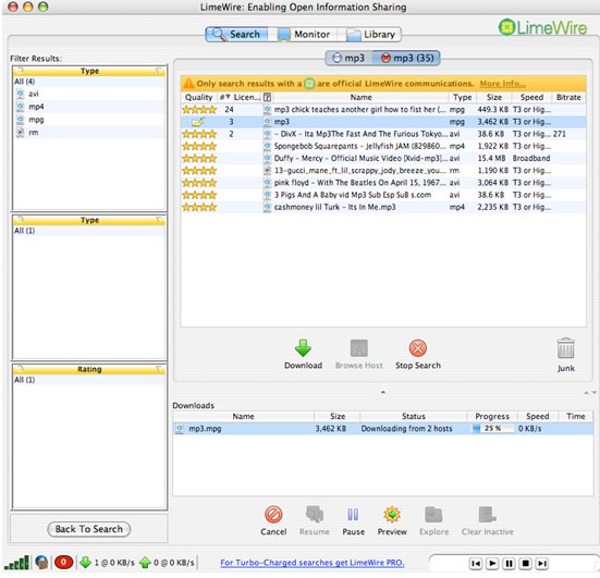 download free music, video, etc. using limewire on Mac OS