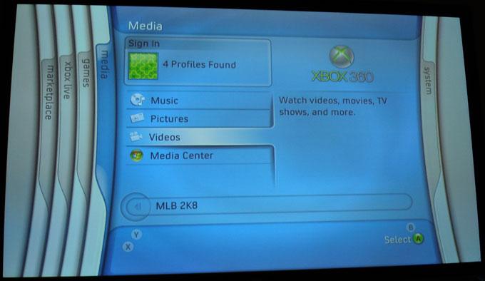 Xbox 360 - Dashboard - Media Tab
