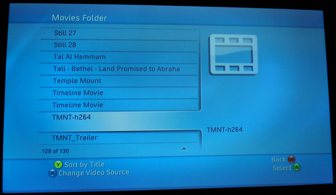Xbox 360 - Dashboard - Media Tab - Connect 360 - Browse Video