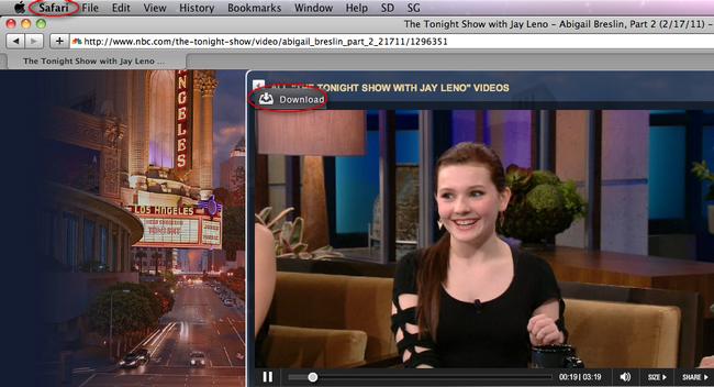 Download NBC video in Safari
