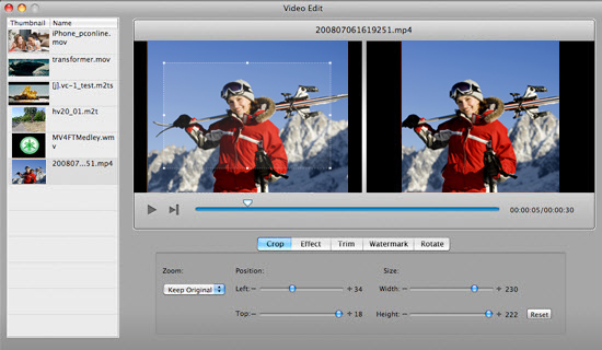 burn MP4 to DVD Mac - Edit the MP4 files