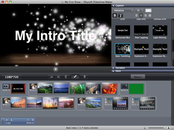 add intro/credit to slideshow