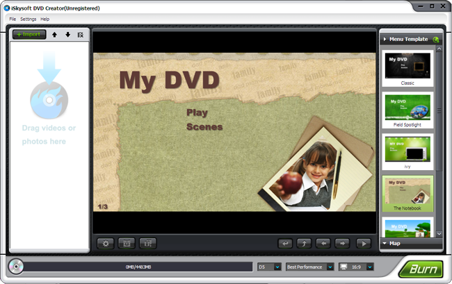 dvd creator main interface