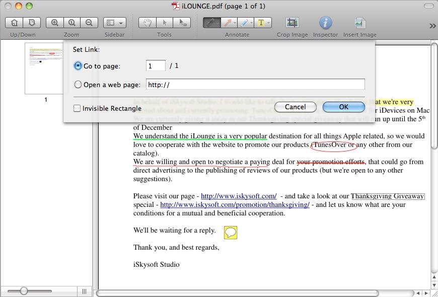 create hyperlink in pdf