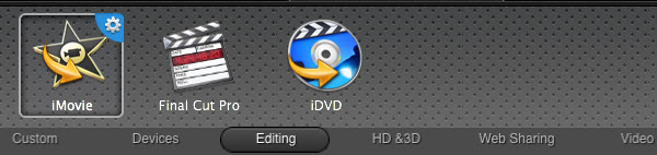 "Select ""iMovie"" from the output format list"