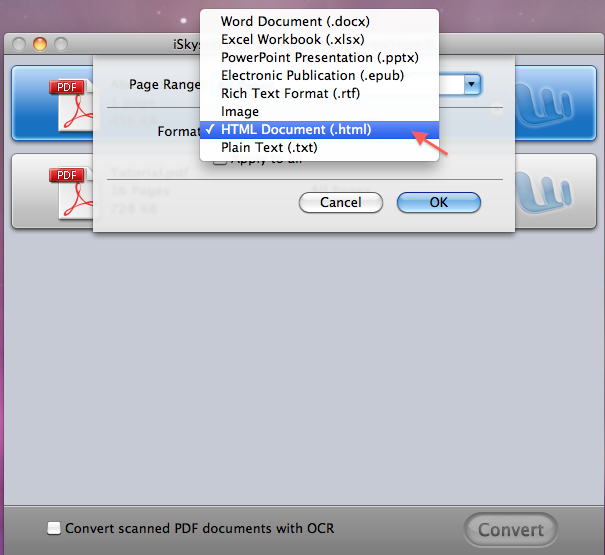 convert pdf to html for mac